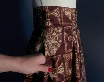 SHAHEEN Original Label 1940s Full Swing Skirt WWII Art Deco Island TIKI Oasis Novelty Print Hawaiian 1950s V L V