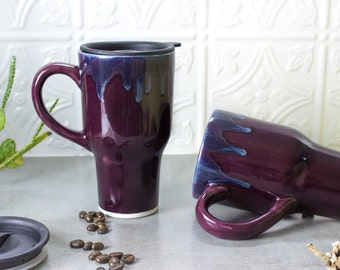 Coffee Travel mug with handle, Eggplant Purple, BlueRoomPottery w/ black lid handmade pottery Kitchen gift for dad mom him her