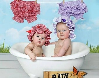 Gingham Bloomer Diaper Cover and Muffin Cap Bath Hat Set - choice of color