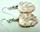 Pale Pink Pearl Earrings Pink Mother of Pearl Carved Leaf Earrings with Sterling