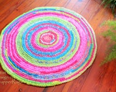 "Lilly Pulitzer inspired rag rug ""braided"" crochet round -coastal beach decor, ocean decor, tropical decor, custom 48""  vintage look,"