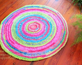 "rag rug ""braided"" crochet round Lilly Pulitzer inspired -FRUIT Salsa - hot pink, lime green, coral, custom 48""  vintage look, prepster"