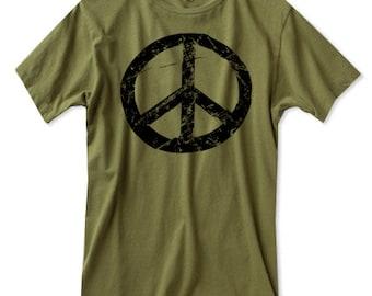 Peace Sign Shirt - Mens Army Green Tshirt - 90s - Mens Peace Shirt - Grunge - 70s - S, M , L XL, 2XL