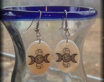 Triple Goddess Moon Earrings, Mother of Pearl By Mickie Mueller