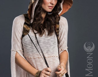 RESERVED for Zuleyma: The Woodland Faerie Tapestry Hooded Vest in Gold Stripe by Opal Moon Designs
