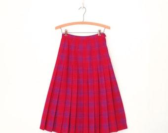 Vintage Plaid Skirt * Pleated Pendleton Skirt * Tartan Wool Skirt * Small