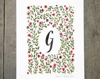 Monogram Letter G floral art print