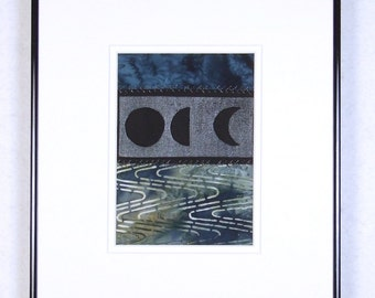 Moon Phases Cool Waters Mini Quilt Art Collage Ready to Frame