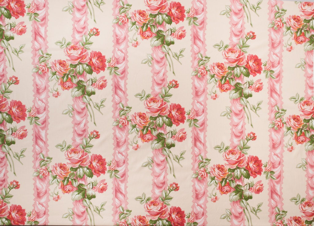 Vintage rose chintz cotton fabric vintage polished by for Chintz fabric