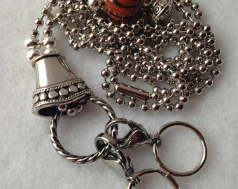 Basketball ID Badge Lanyard with ball chain and silver charms