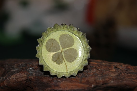 Real Four Leaf Clover Adjustable Ring Get Well, Graduation, St. Patrick's Day etc.  to Bring Good Luck