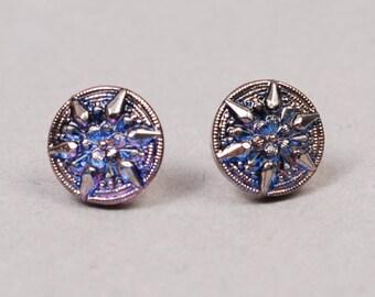 Dichroic Glass Earrings - Purple Star Earrings - Purple Dichroic Earrings - Purple Earrings - Fused Glass Earrings - Fused Glass Earrings
