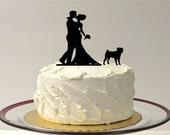 WITH PET DOG Wedding Cake Topper Pug Silhouette Wedding Cake Topper Bride + Groom + Dog Pug Pet Family of 3 CakeTopper Pug
