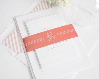 Chic Monogram Wedding Invitation - Elegant, Modern, Monogram, Initials, Circle, Simple -  Wedding Invitation