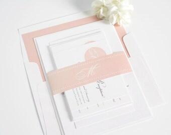 Blush Pink Wedding Invitation - Pale Pink, Blush, Initials, Chic, Elegant, Neutral - Circle Monogram Wedding Invitations - Sample Set