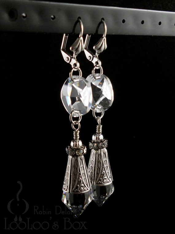 ICICLE EARRINGS Long Chandelier Prisms Drops Silver Plated Brass Lever Back E0748 by Robin Taylor Delargy RTD