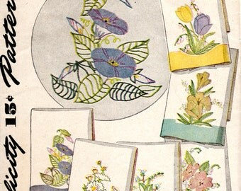 1940s Floral Transfer Pattern - Vintage Simplicity 7120 - Applique Embroidery