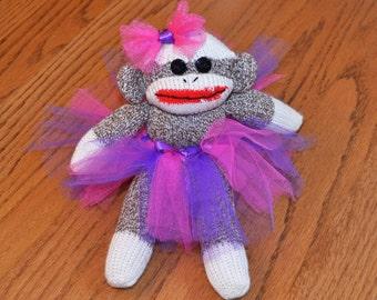 Baby Ballerina Sock Monkey, Choice of Tutu Color