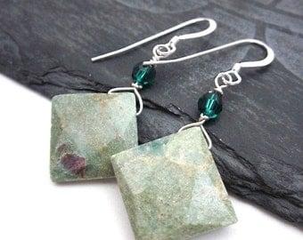 Green Gem Dangles -- Green Square Earrings -- Green Diamond Earrings -- Light Green Bead Earrings -- Mint Gem Earrings -- Fuchsite Earrings