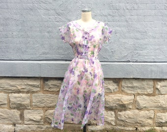 Vintage 50's Dress / Floral Nylon Dress / Semi Sheer Fifties Bridal Party Dress / Bridesmaid Garden Party / Scalloped Detail Neckline