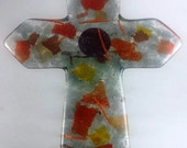 autumn Arizona copper art glass CROSS faith for cross wall orange gold southwest