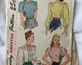 Simplicity 1906 Gathered Yoke Woven Back Button Blouse or Top Vintage Sewing Pattern Bust 34