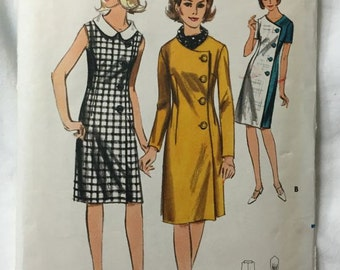 Butterick 3740 Button Front 1960s Asymmetrical Coat Dress Vintage Sewing Pattern Bust 40