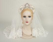 1940s beaded crown and veil • vintage 40s tiara • deco headband