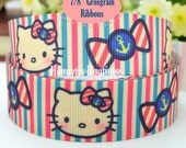 "4 yards: Hello Kitty Stripes Character Logo Brand Inspired Candy Anchor Grosgrain Ribbon 7/8"" inch wide. Gift Wrap. DIY Supplies"