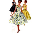 50s Full Skirt Pleated Dress Pattern Simplicity 1119 V Neck V Back Evening Prom Wedding Gown Vintage sewing pattern Size 11 Bust 29 inches