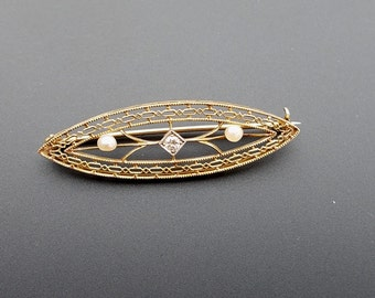 Vintage Art Deco Era 14K Gold Straight Bar Pin Diamond Pearl Filigree