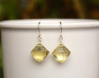 Yellow Topaz Earrings, You Choose Silver or Gold, Topaz Gemstone Earrings, Lightweight, Yellow Topaz Simple Earrings, Free Shipping