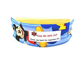 Mickey Mouse Kids Medical Alert Bracelet Safety ID Fabric Band Choose from many Labels