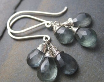 Stormy Moss Aquamarine Briolette Cluster Earrings - Sterling Silver French Hooks