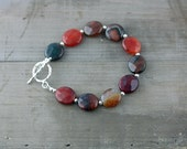Agate and Sterling Silver Bracelet
