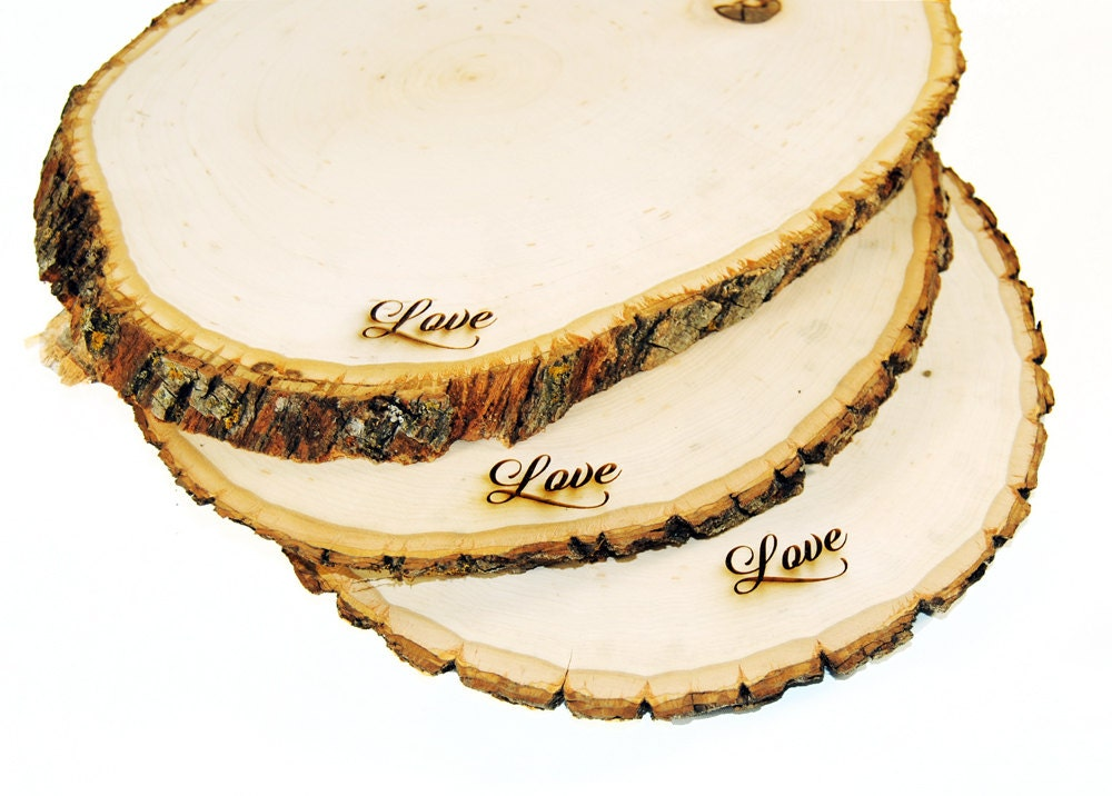 Rustic wood tree slice centerpieces trivets hot plates