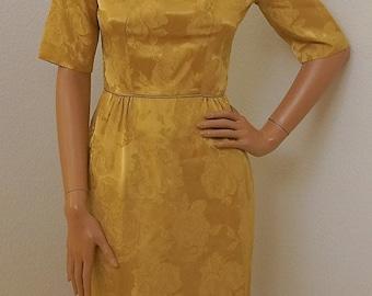 Vintage 1950s Dress / 1950s Gold Satin Floral Brocade Dress with Back Rosettes