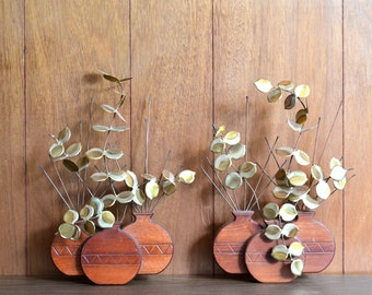 vintage wood and metal plant wall hangings / mothers day / mom