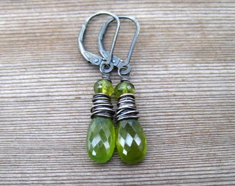 Olive Green Earrings, Vesuvianite Stone, Mossy Green Dangle Earrings, Oxidized Sterling Silver, Handmade Jewellery