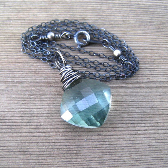 Green Amethyst Necklace,  February Birthstone Jewelry,  Amethyst Pendant, Genuine Gemstone, Wire Wrapped In Sterling Silver