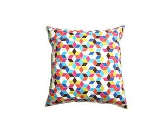 "Geometric Blue Cushion Cover Bright Print Cotton 14"" 35cm Pillow Case Aqua Grey Sky Pink Yellow Brown White Home Decor Living Gift Ideas"