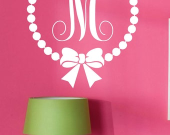 Wall Decal-Monogram Polka Dot with Bow-Personalized-Custom-Initial- Girls Room Decor-Vinyl Wall Decor
