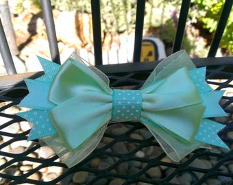Mint Green Stacked Hair Bow