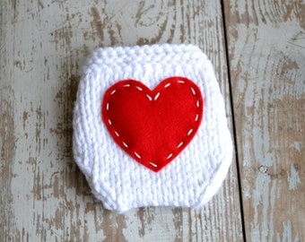Diaper Cover, Valentines Newborn Baby, Ready to Ship, Hand Knitted Infant Photo Prop, Valentine's Day, White Red Heart, NB 0-3 Mo.RTS