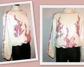 On hold for Erin. 1980s Disco/Glam Rock Iridescent White/Pink/Mauve Sequin Blouson Vintage Top