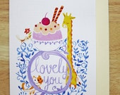 Greeting Card - Lovely you - cute watercolor illustration ice cream giraffe cat bird floral decor