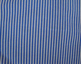 Two Pieces of Vintage Retro Upholstery Fabric Beige Navy Blue Stripe for Chairs Cushions Ottomans Sewing Home Decor S121