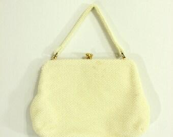 1960's Cordé Bead Purse Off White Hand bag