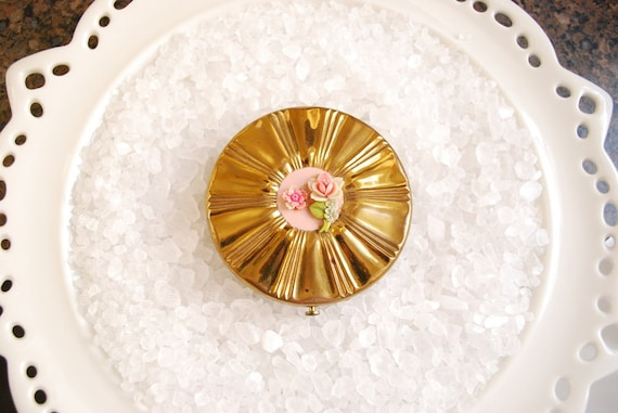 Vintage Dorset Fifth Avenue Pink Roses Compact Makeup Powder Mirror  - 1950's Celluloid Floral Design - Brass Case
