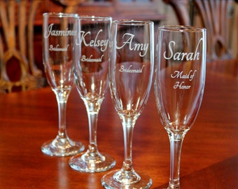 7 Engraved Champagne Flutes,  Personalized Champagne flutes,  Wedding champagne flutes, Bridesmaid champagne flutes, Bridal party glasses